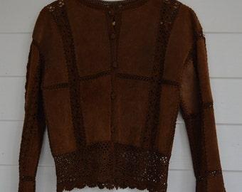 Vintage Brown Suede Cardigan