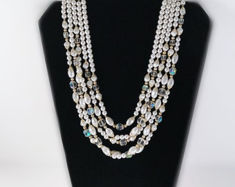 Vintage Multistrand Faux Pearl and Aurora Borealis Crystal Beaded Necklace - Made in Japan