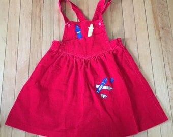 Vintage 1980s Girls Red Corduroy Crayons School Jumper Dress! Size 6
