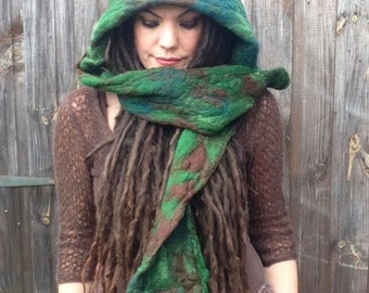 The 'Feeorin' Felted Fairytale Hooded Scarf, Pixie Hat, Woodland Scarf, Pixie hood, Fantasy Fae, LARP, Cosplay, Pagan Clothing, Wearable Art