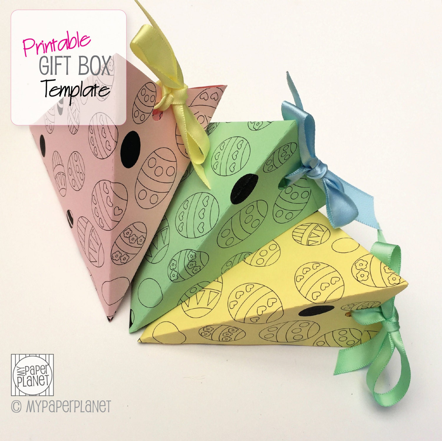 Easter eggs triangle gift box template diy printable pdf for Design your own egg boxes