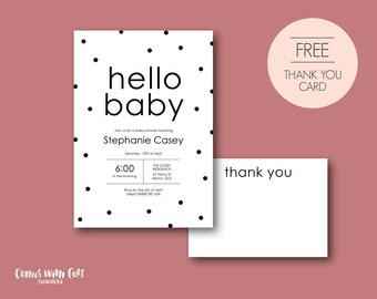 Beatrix baby shower invitation / fun and quirky design / affordable printable party / digital file
