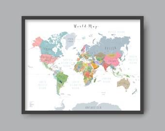 World map with countries, PRINTABLE wall art Kid nursery Modern home decor (#P342)