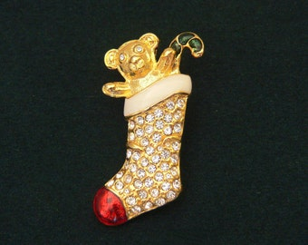 ONE CENT SHIPS this Teddy bear waving from stocking w red toe. Clear rhinestones bring bling to this golden Christmas pin brooch. Cute gs-2