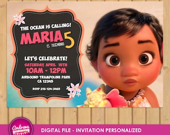 Moana Invitation, Moana Birthday, Moana Party, Disney Moana, Moana Printables, Custom Invitation, Disney Princess, moana party printables