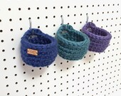 Peg Board Storage Baskets / Hanging Baskets / Craft Room Organizer / Crochet Storage Bin / Trinket Dish / Jewelry Holder / Hanging Organizer