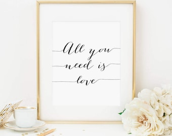 All You Need Is Love Printable Love Quote Print Positive Quotes Positive Inspiration Inspirational Wall Art Motivational Quote Love Print