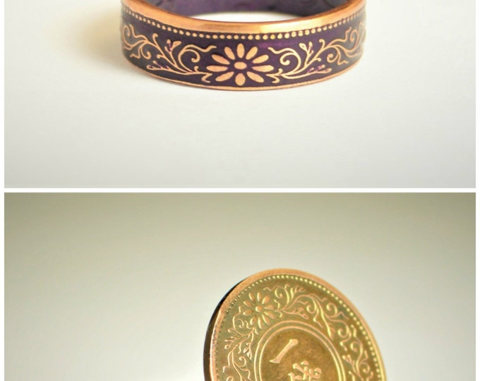 Coin Ring, Purple Ring, Japanese Ring, Coin Ring, Japanese Coin, Japanese Jewelry, Coin Rings, Japanese Art, Coin Art, Japanese Coin Ring