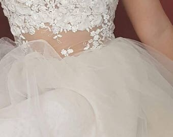 Lace Wedding Dress, Bohemian Wedding Dress: Mateials>chiffon, tulle, lace.
