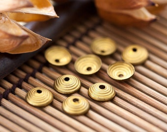 Vintage Bead Caps Simple Gold Brass Circle Bead Caps 8mm