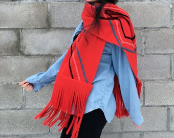 Red Fringe Super Scarf Wrap Wool - reclaimed materials