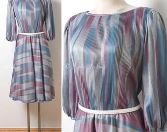 70s Dress, Vintage Gray Dress, Multicolor Dress, Vintage stripe Dress, Pleated Dress, Abstract dress, Aline dress, Vintage day dress - L/XL
