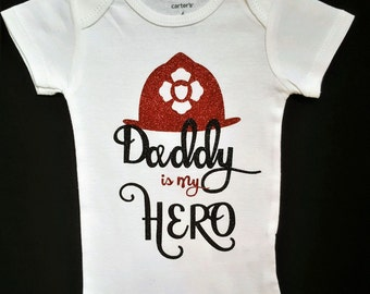 Daddy is my Hero Outfit  || Fireman's Daughter outfit | girl bodysuit baby girl outfit daddy's girl hero outfit daddy is my hero shirt