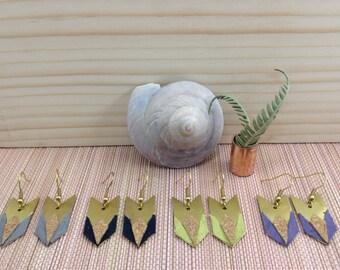 Earrings arrow-liege-suede grey/blue Navy/green violet/aniseed-brass gross-NEBULLE