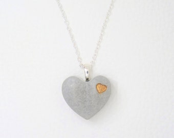 Necklace concrete heart & hearts - colour choice - gift -.