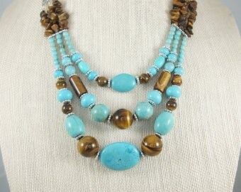 Tiger Eye and Turquoise Necklace and Earring set, Tiger Eye Jewelry, Turquoise Jewelry, Dyed Turquoise Gemstone, Free Shipping, Item #503