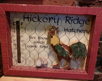 "Country ""Hickory Ridge Hatchery"" Rooster Shadow Box, Rare Rooster and Chicken wire décor, Rooster décor, farmhouse décor"