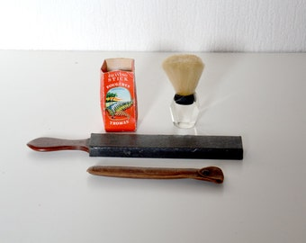 Vintage french barber kit : cut Throat Razor LERESCHE FRANCE with leather case + sharpener + shaving brush GIBS + soap