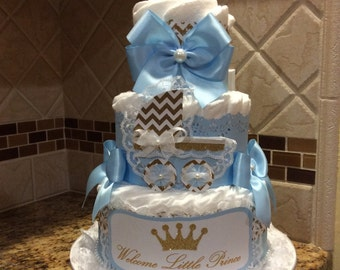 Little prince diaper cake/Welcome little prince diaper cake/Gold and baby blue prince diaper cake/Prince baby shower centerpiece