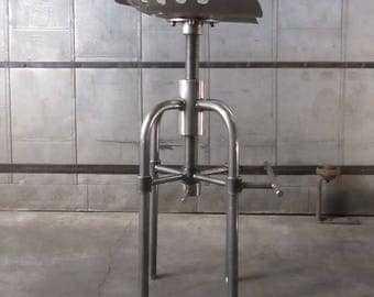 Industrial Stool. Industrial Bar Stool. Steampunk. Steel Stool. Urban Stool. Industrial Furniture. Space Farmer Bar Stool