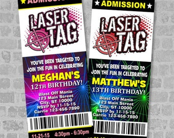 Printed Laser Tag Birthday Party Ticket Invitation, Boy Or Girl Theme, Custom Laser Tag Party Ticket Invites