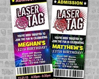 Printed Laser Tag Birthday Party Ticket Invitation, Boy Or Girl Theme,  Custom Laser Tag