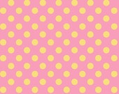 Little One Flannel Too! Dots fabric in Yellow on Pink fat quarters and yardage by Kimberbell Designs for Maywood Fabric
