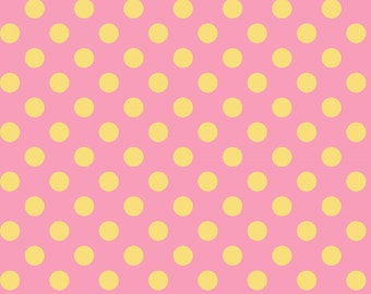Little One Flannel Too! Dots fabric in Yellow on Pink by Kimberbell Designs for Maywood Fabric