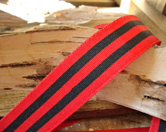 2 Yards - Red and Black Stripe Grosgrain Ribbon