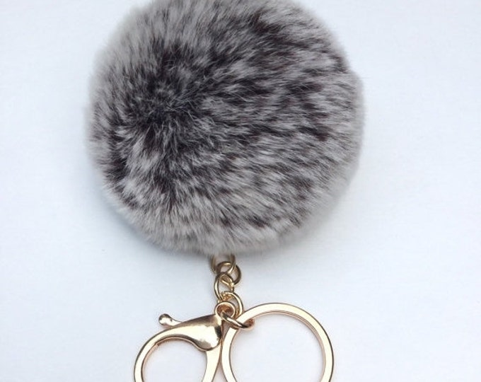 New! Brown Frosted Fur pom pom keychain fur puff ball bag pendant charm