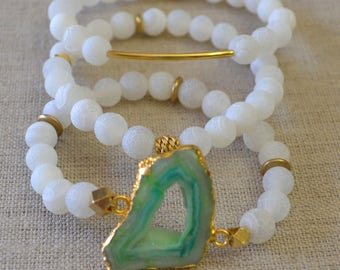 Frosted Agate Bracelet Set