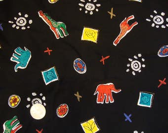 """SALE!  Vintage Fabric * Abstract Amimals and More on Black Rayon * 6 Yards x 58"""""""