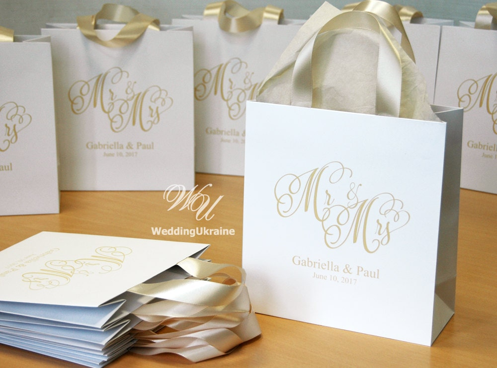 Gift For Guests At Wedding: 35 Champagne Wedding Welcome Bags With Satin Ribbon And Names