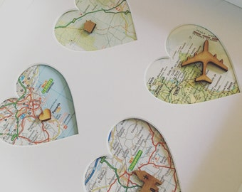 Personalised 4 heart map frame