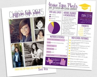 High School or College Year in Review Graduation Announcement or Graduation Invitation 4, Customized, Digital File