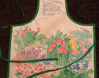 Floral Full Apron Watercolor Vintage Kitchen Apron with Green Trim