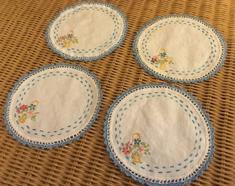 SALE Set of 4 Vintage Embroidered Table Doilies Doily