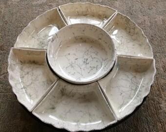 Mid Century Modern Ceramic Atomic Lazy Susan Cream and Black Serving Tray/Platter