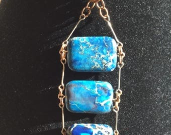 Marbled Blue Tablet Bead, Necklace With Silver And Bronze