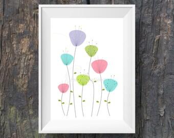 Flower design printable wall art, digital print, wall hanging