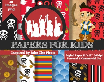 Digital Papers, Jake and the Neverland Pirates, Kids, Background, Birthday, Clipart, Papers for kids