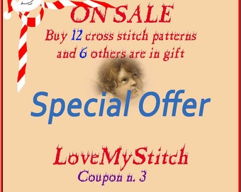 Special Offer - Buy 12 Cross Stitch Patterns and 6 other is in Gift, digital file pattern, needlepoint,  counted cross stitch