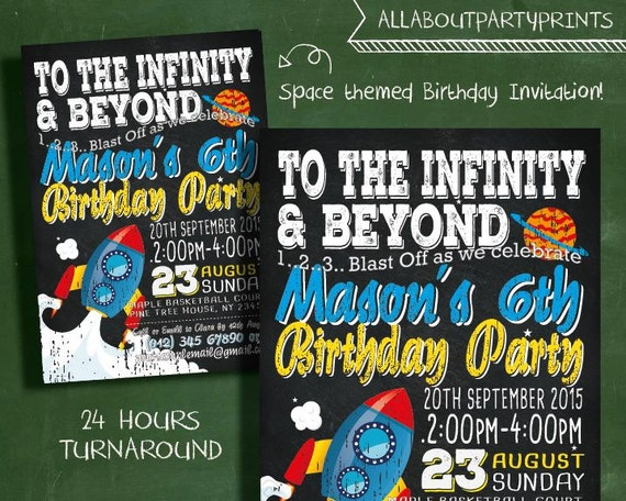 Space themed birthday invitation card printable kid for Space themed stationery