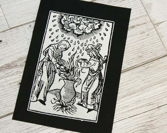 Witch patch, magic patch, medieval illustration, punk patch, pagan patches, occult patch sew on patch, strega, wicca screen printed patch