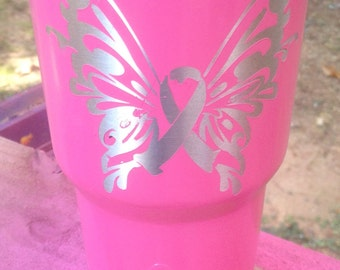 Breast Cancer Survivor, Awareness, Ozark Trail, 30 oz, Butterfly, Insulated with lid