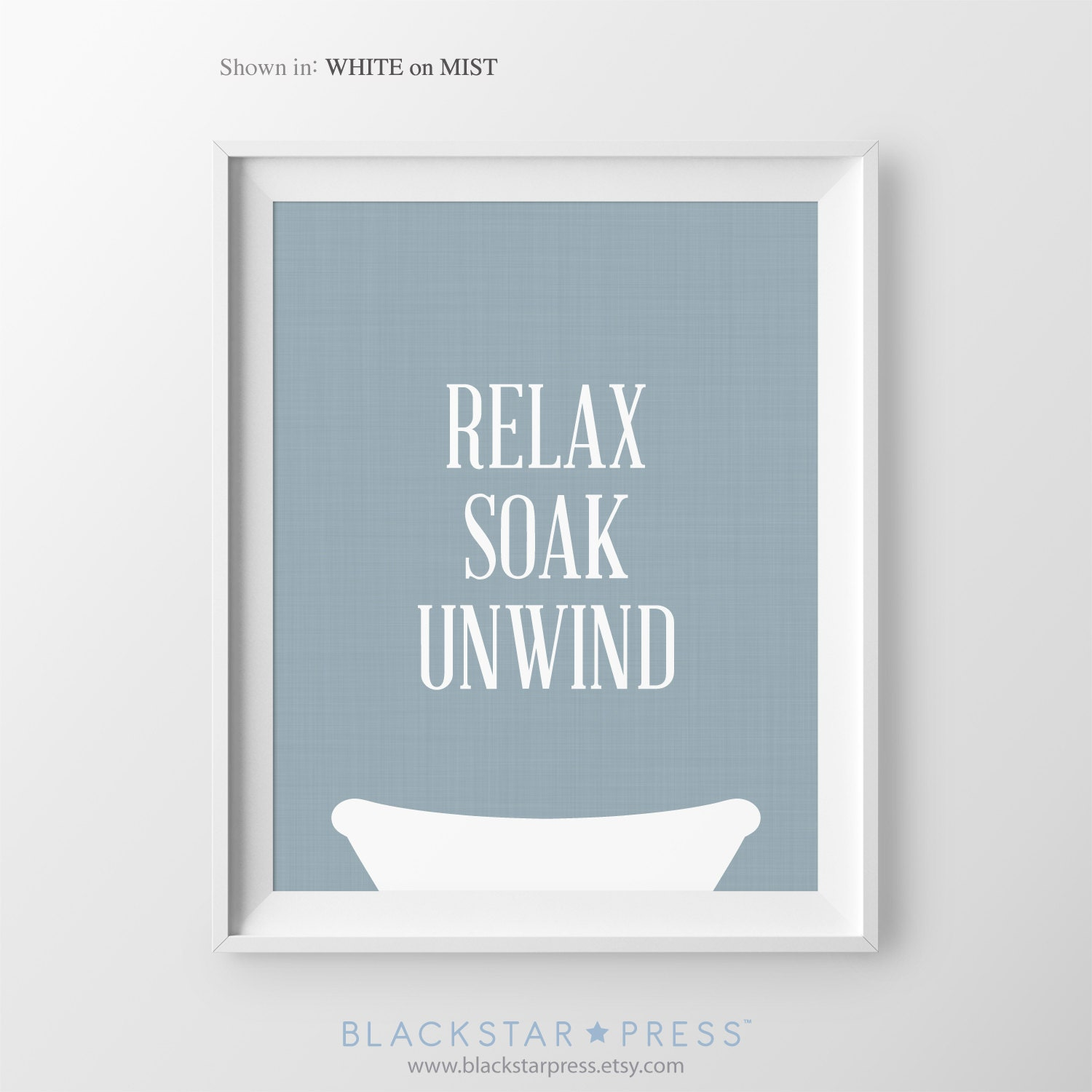 Relax soak unwind navy blue bathroom decor powder room art Bathroom design pictures books