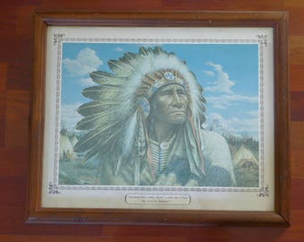Vintage 1977 Alfredo Rodriguez Print Featuring Chief Strong Wind - Around this camp there's only one Chief; the rest are Indians