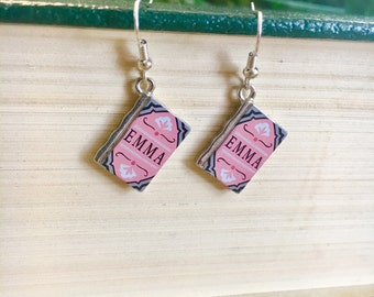 Book Earrings, Emma, Emma Earrings, Jane Austen Earrings, Jane Austen, Book Charm Earrings, Classic Literature Earrings
