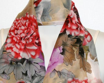 Womens Scarf, Floral Print Scarf, Chiffon Scarf, Voile Scarf, Cotton Scarf, Fashion Scarf