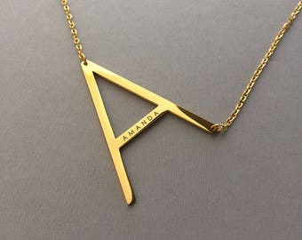 Sideways Letter Necklace - Oversize Letter Necklace - Large Letter Initial Necklace - Engraved Name - Gold Plated Necklaces